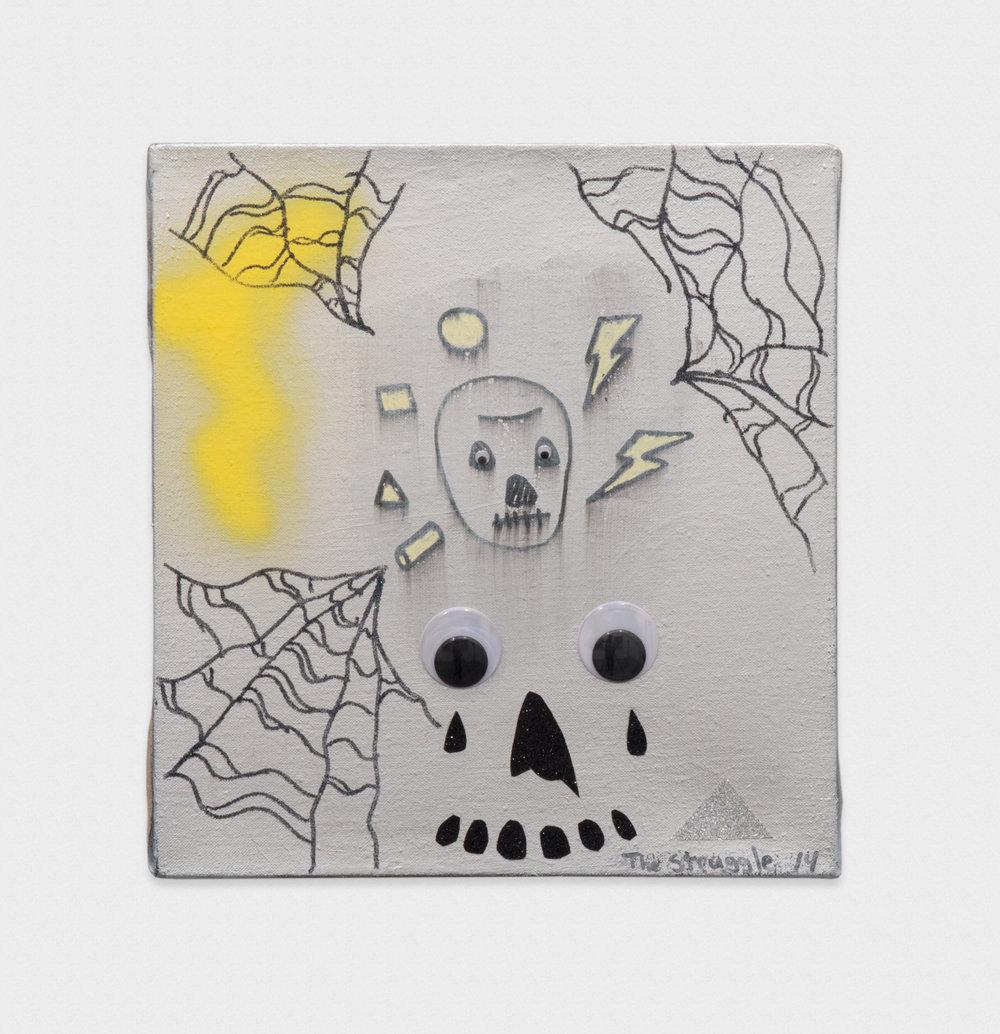 David Leggett  Minimal Death  2014 Acrylic, spray paint, glitter, collage, and wiggle eyes on linen 14h x 13w in DL008