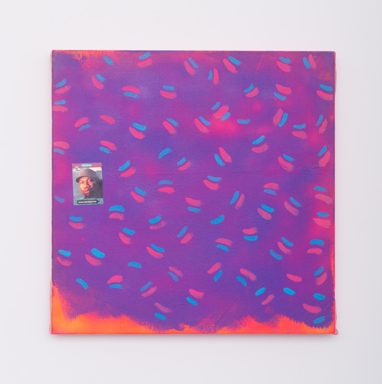 David Leggett  Die Brucke  2015 Fabric dye, acrylic, and collage on canvas 24h x 24w in DL078