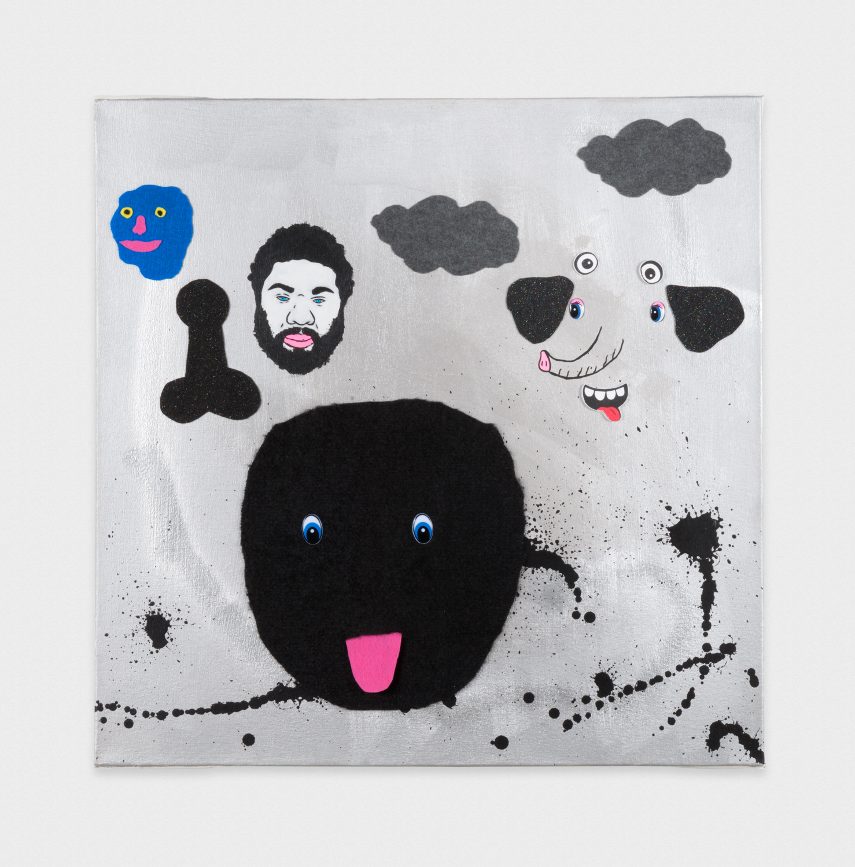 David Leggett  Wet and European.  2017 Airbrush, felt, acrylic, and wiggle eyes on canvas 30h x 30w in DL179