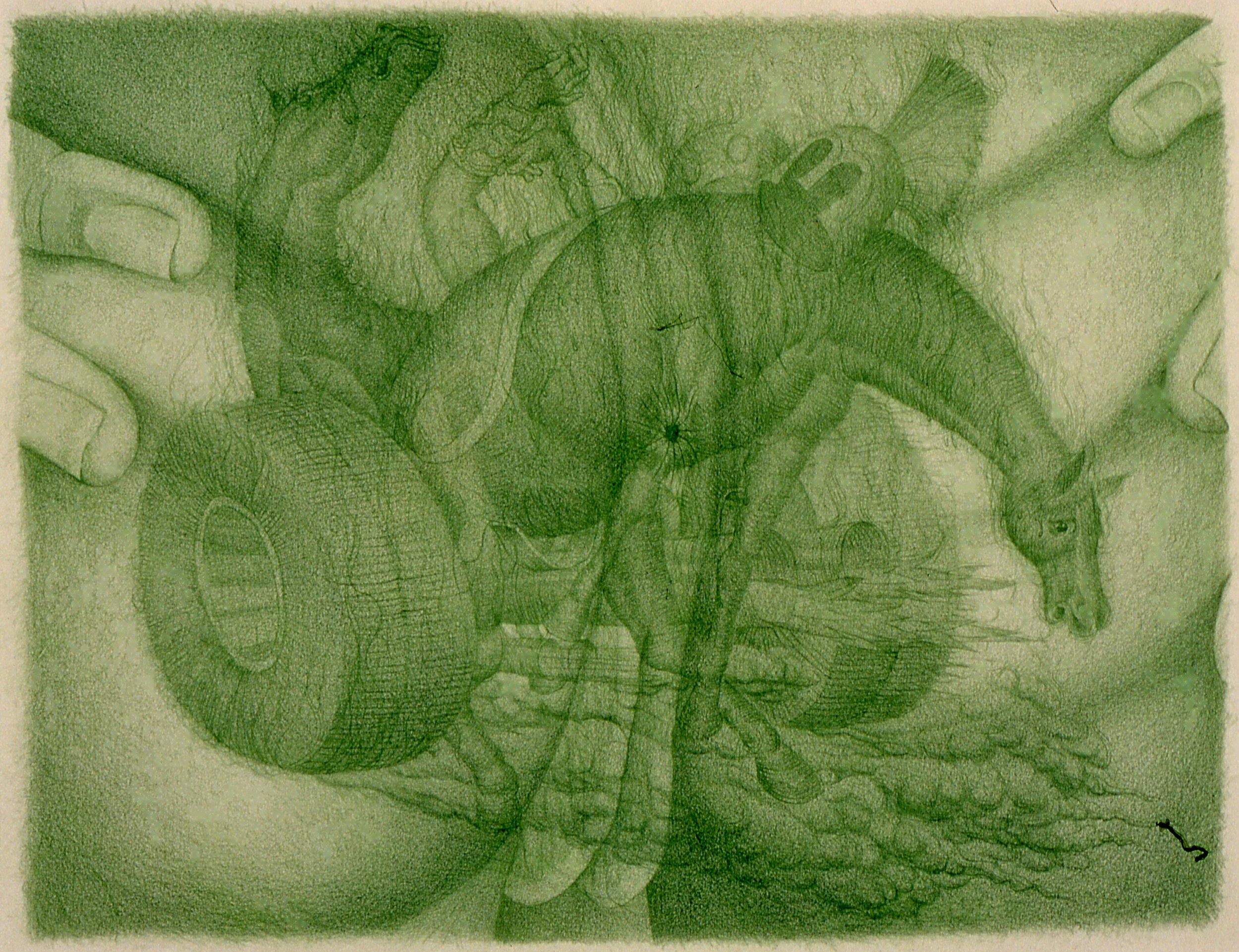 Gerald Davis  The Smelling Game  2005 Colored pencil on paper Three parts, 25 ½h x 30 ¾w in each