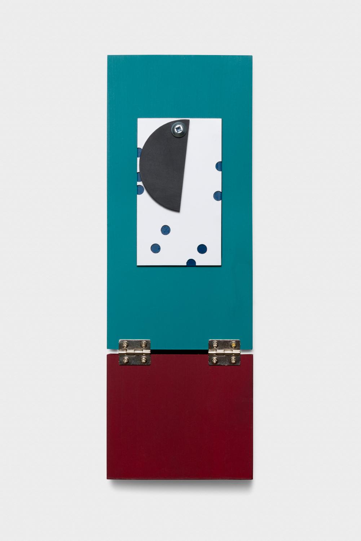 Vanessa Maltese  Chart no. 34  2014 Wood, sandblasted plexiglass, magnetic paper, powder-coated steel, hardware, chalkboard paint 10h x 3 ½w x ¾d in VM004