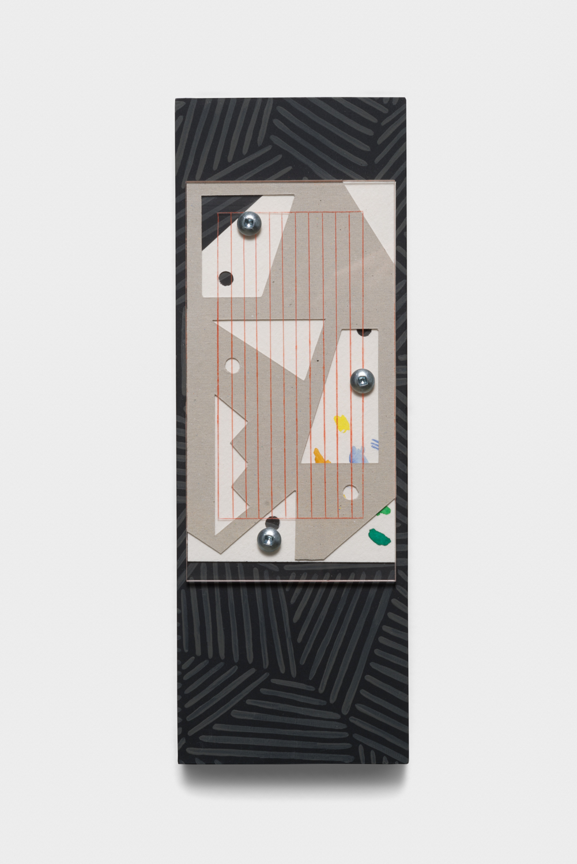 Vanessa Maltese  Chart no. 19  2014 Wood, paper, plexiglass, watercolor paint, hardware, chalkboard paint 10h x 3 ½w x ¾d in VM005