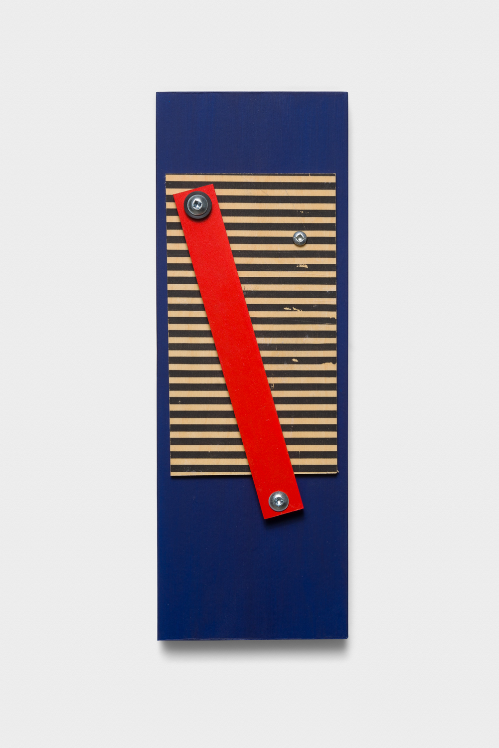 Vanessa Maltese  Chart no. 10  2014 Wood, acrylic paint, gel medium transfer, aluminum, rubber washers, hardware, chalkboard paint 10h x 3 ½w x ¾d in VM001