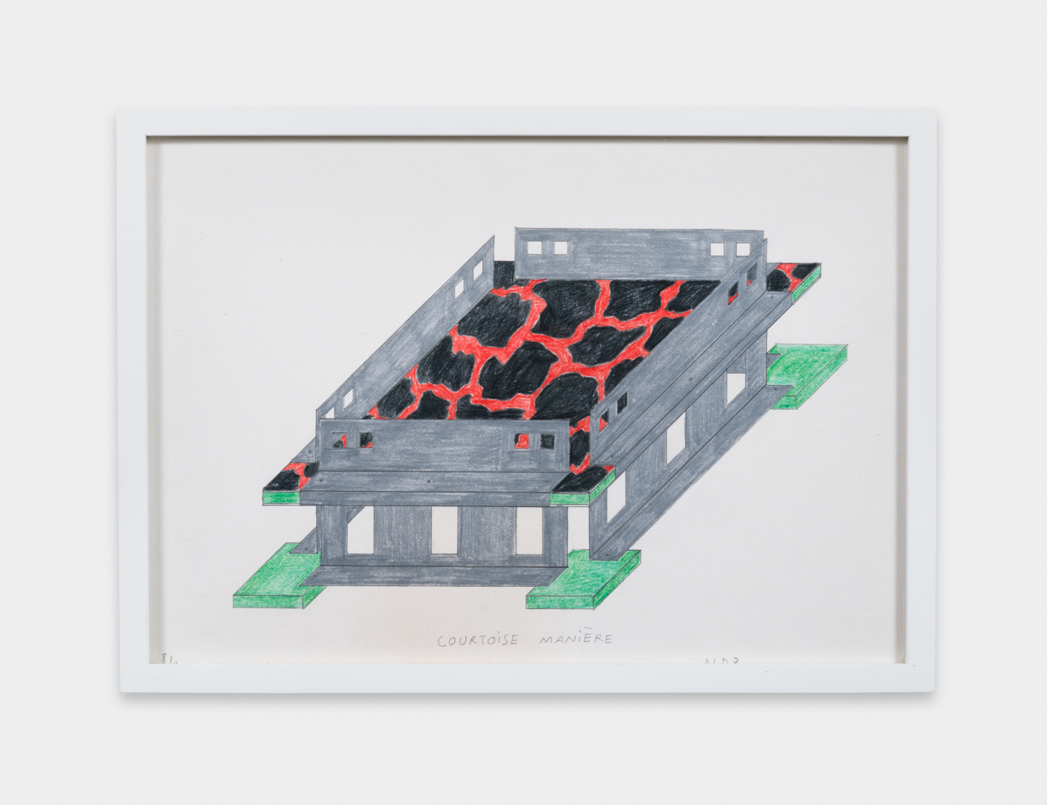 Nathalie Du Pasquier  Fruit bowl (Objects for the electronic age)  1984 Color crayon on paper 8 ¾h x 12 ¼w in ND005