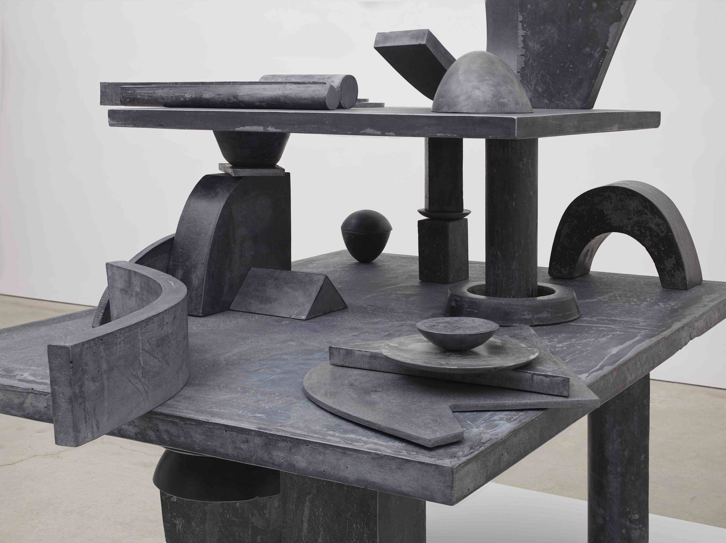 Erin Shirreff  Catalogue, 39 parts (Value Lesson) (Detail) 2015 Hydrostone, pigment, graphite, steel armatures 57h x 65 ¼w x 53d in