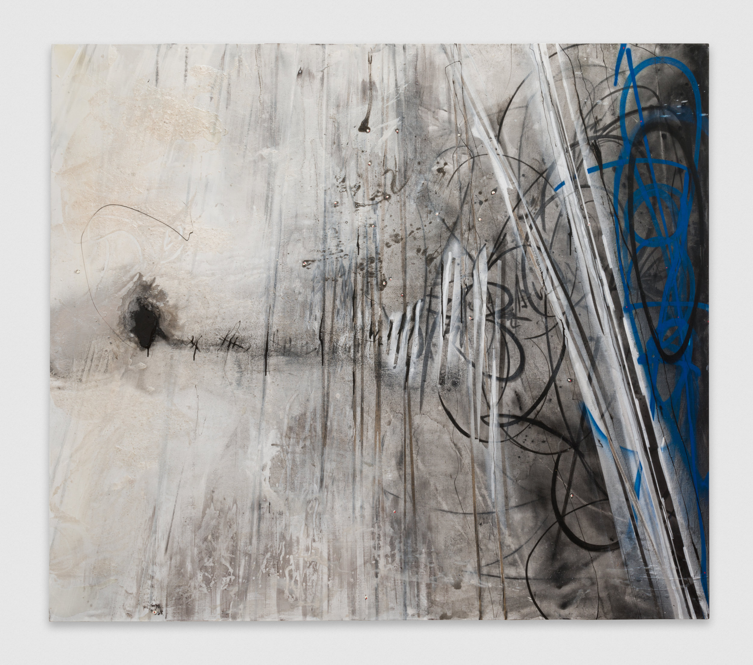 Suzanne McClelland  Domestic Terrorism: Dibee NCIC W108732930  2015 Charcoal, polymer, spray paint, and oil on linen 84h x 96w in SM288