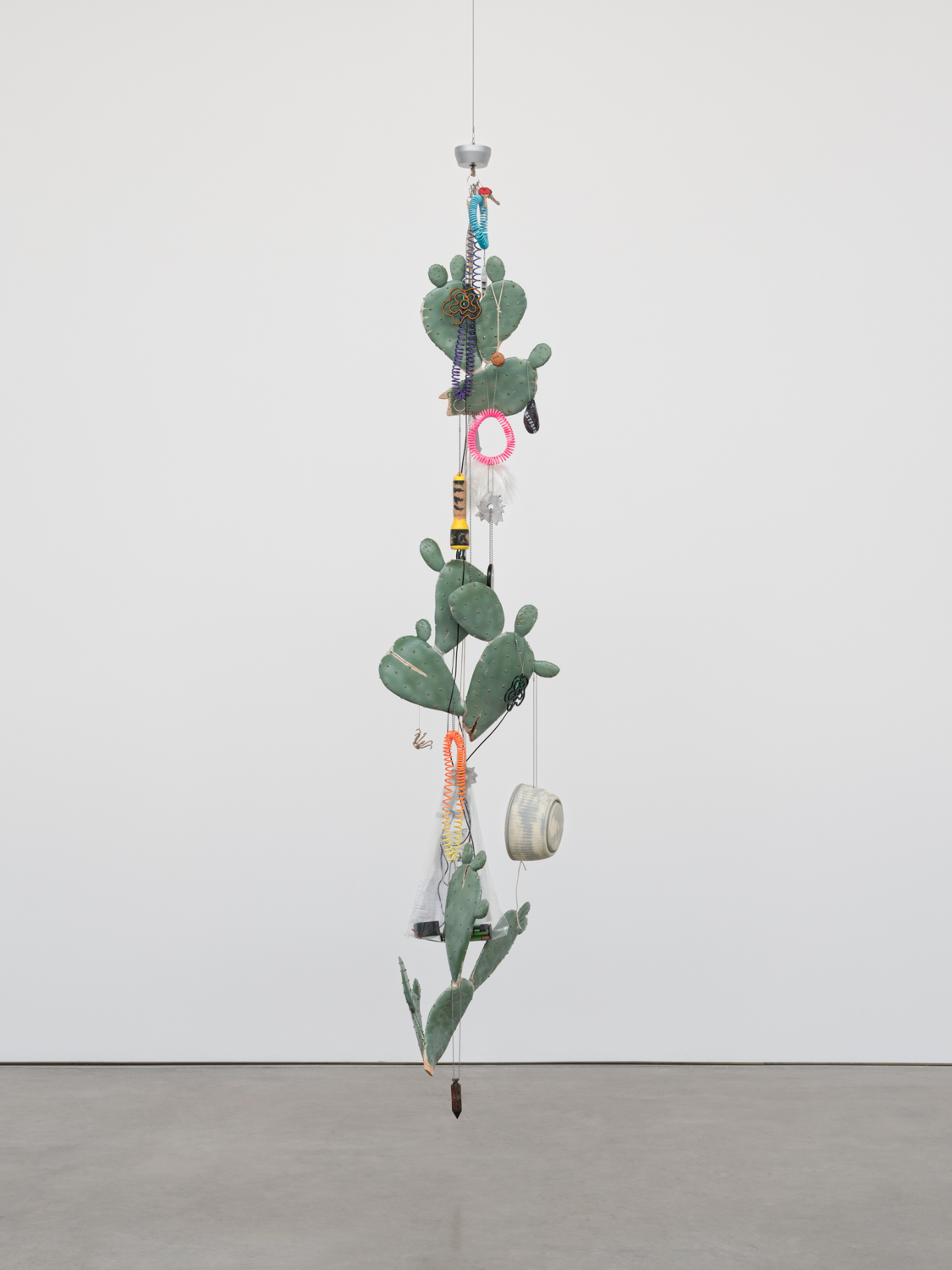 Chris Bradley  Token (Life Raft)  2018 Cast bronze, cast aluminum, steel, wool, PLA, foam, paint, neon, AA batteries, wire, ball chain, key rings, hardware 86h x 16w x 14d in CB263
