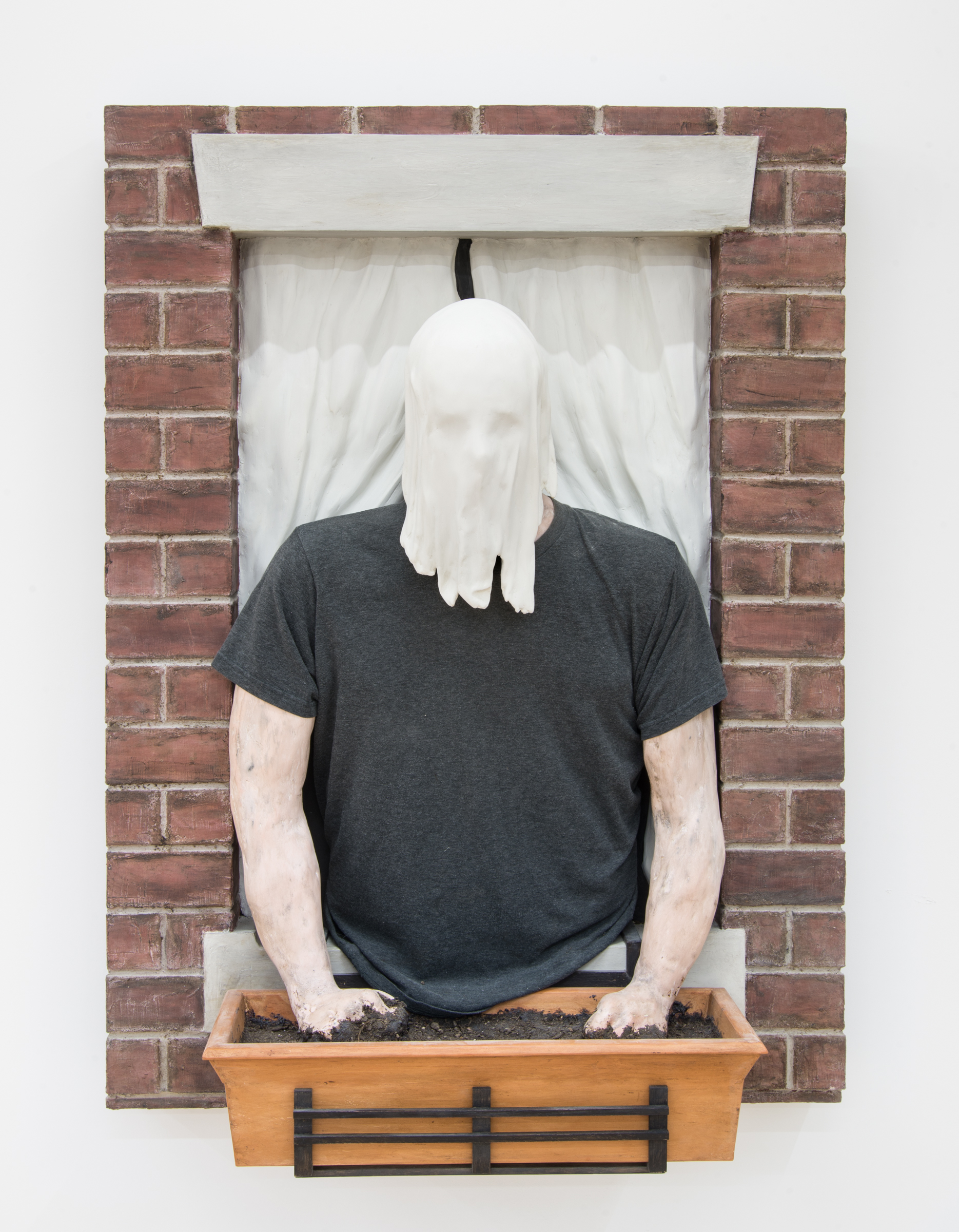 Dan Herschlein  Now I'm Someone You Can See Through  2017 Wood, plaster, pigmented joint compound, mortar, milk paint, wax, soil, and t-shirt 48 ¼h x 35 ½w x 15d in DH003