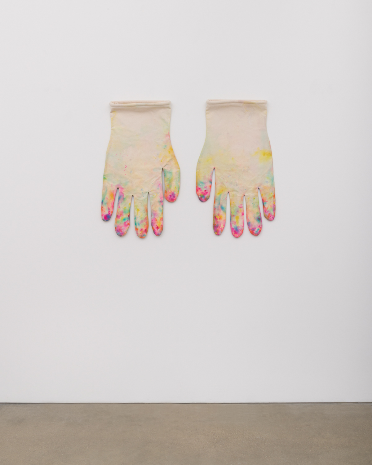 Amanda Ross-Ho  Untitled Prototype #2 (DIRTY GLOVES)  2017 Acrylic on canvas, cotton piping, and thread 30h x 17w in, each ARH146