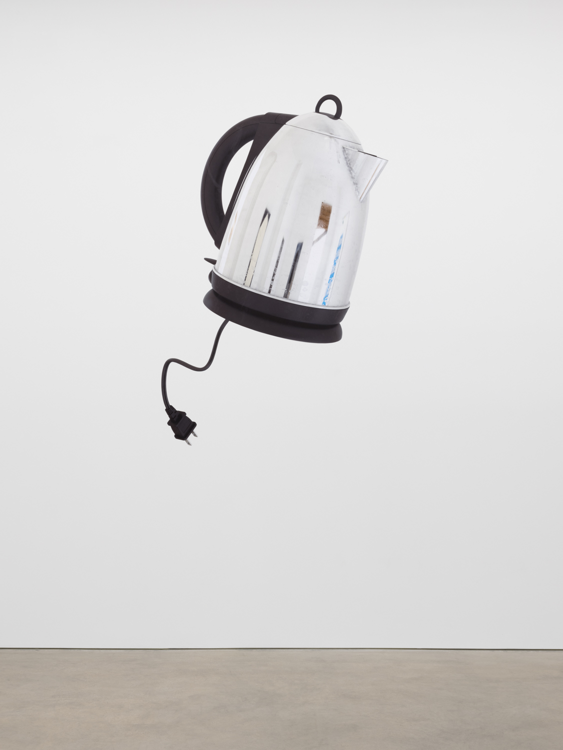 Asha Schechter  Electric Kettle with reflection of paintings in bedroom modeled and rendered by Csaba Kiss  2017 Inkjet print on adhesive vinyl 94h x 44w in ASch001
