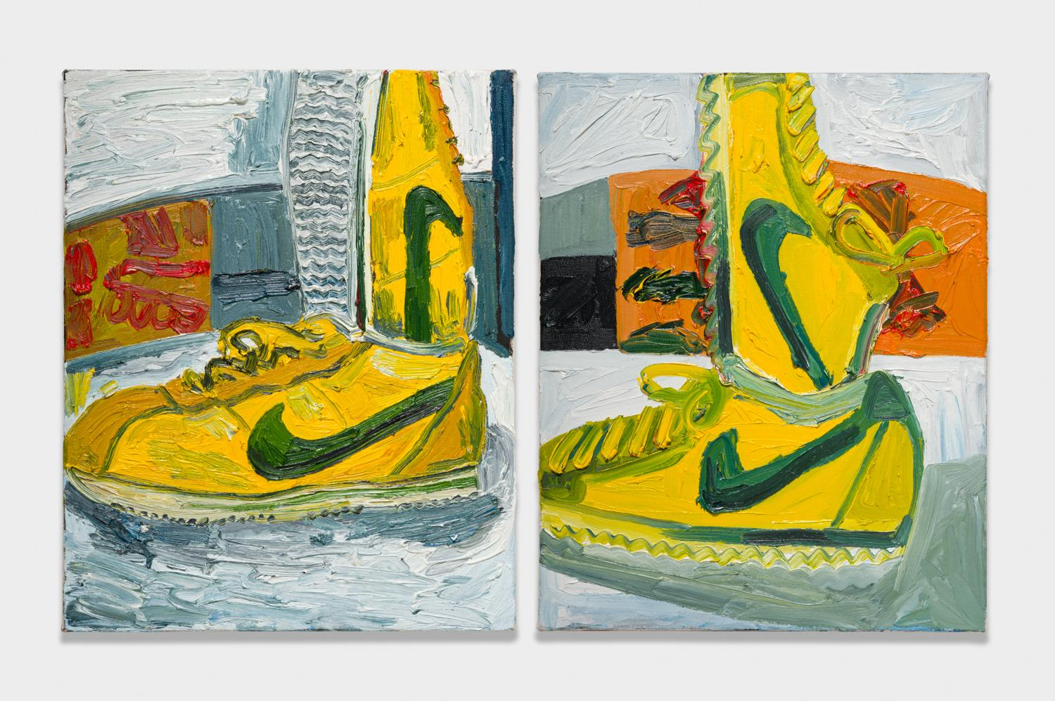 Alex Becerra and Matthew Clifford Green  Nike Shoes  2018 Oil on canvas Two elements, 20h x 16w in. each ABMCG002