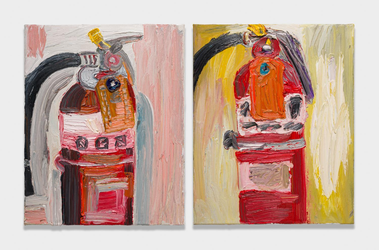 Alex Becerra and Matthew Clifford Green  Fire Extinguisher  2018 Oil on canvas Two elements, 20h x 16w in. each ABMCG003