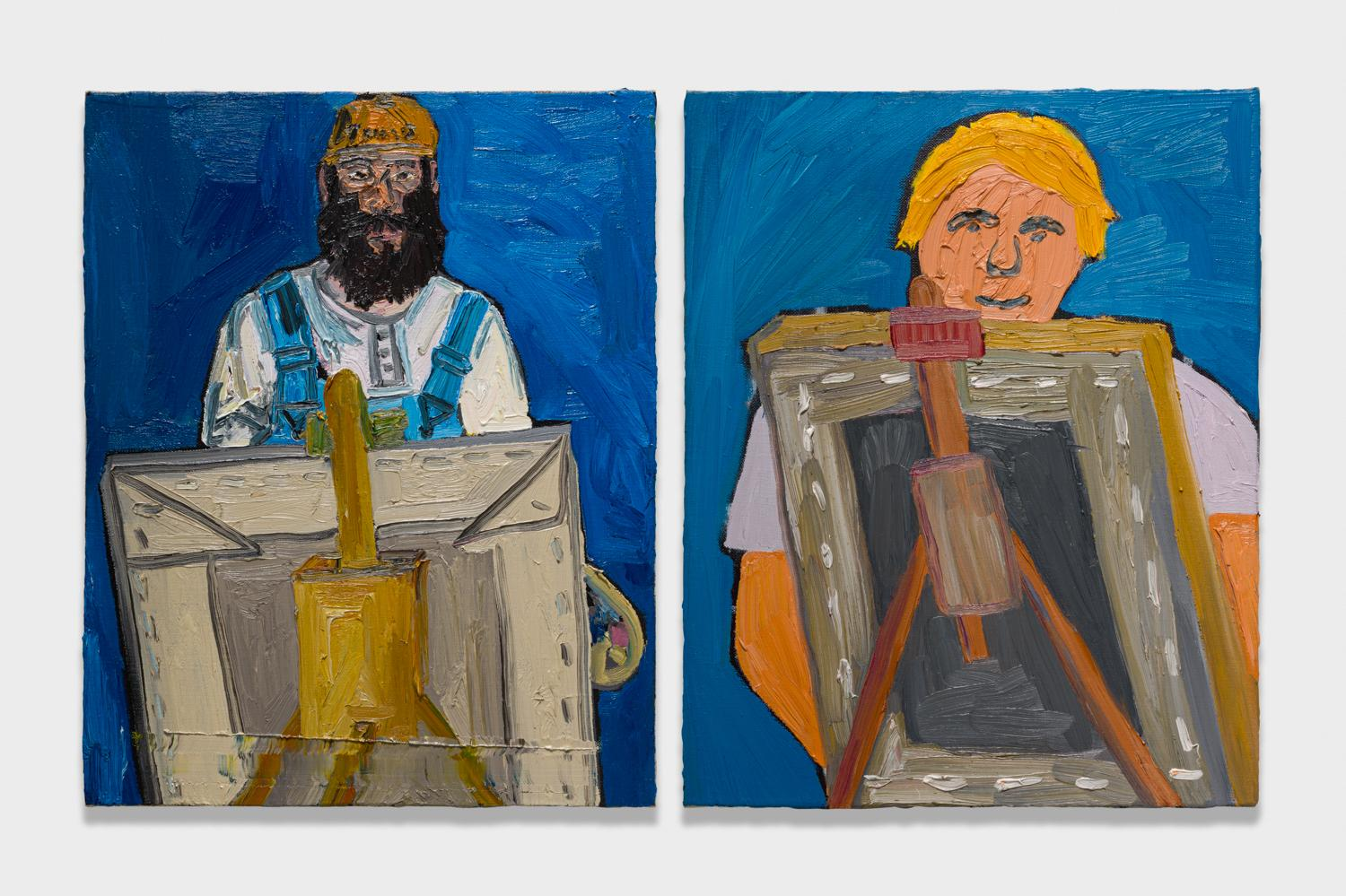 Alex Becerra and Matthew Clifford Green  Self Portrait  2018 Oil on canvas Two elements, 20h x 16w in. each ABMCG004