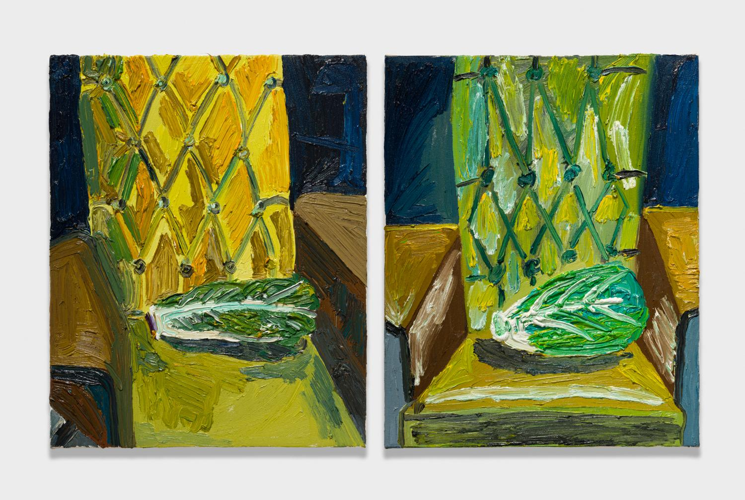 Alex Becerra and Matthew Clifford Green  Lettuce on Chair  2018 Oil on canvas Two elements, 20h x 16w in. each ABMCG005