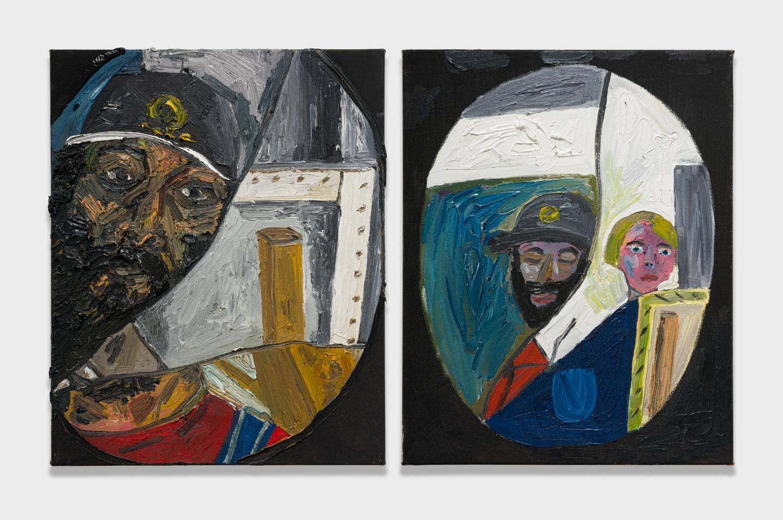 Alex Becerra and Matthew Clifford Green  Self Portrait in Broken Bathroom Mirror  2018 Oil on canvas Two elements, 20h x 16w in. each ABMCG006