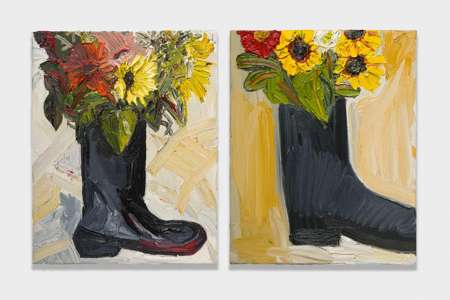 Alex Becerra and Matthew Clifford Green  Flowers in Boot  2018 Oil on canvas Two elements, 20h x 16w in. each ABMCG008