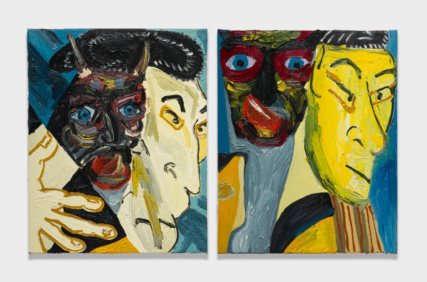 Alex Becerra and Matthew Clifford Green  Wooden Mask and Tapestry  2018 Oil on canvas Two elements, 20h x 16w in. each ABMCG007
