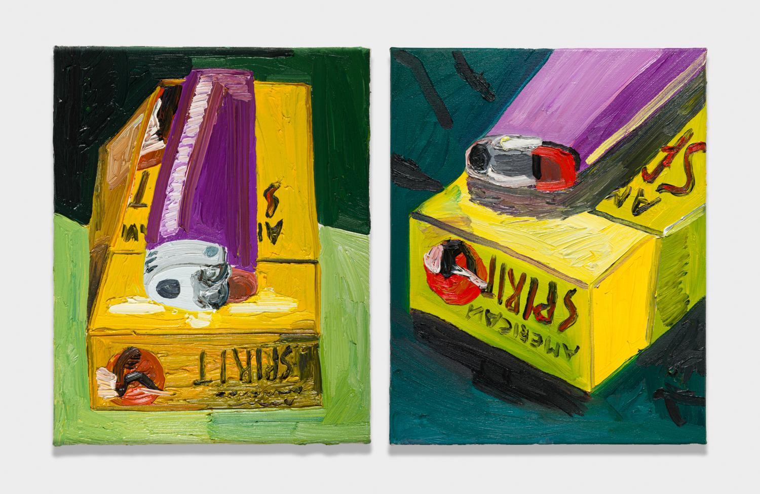 Alex Becerra and Matthew Clifford Green  Cigarettes  2018 Oil on canvas Two elements, 20h x 16w in. each ABMCG009