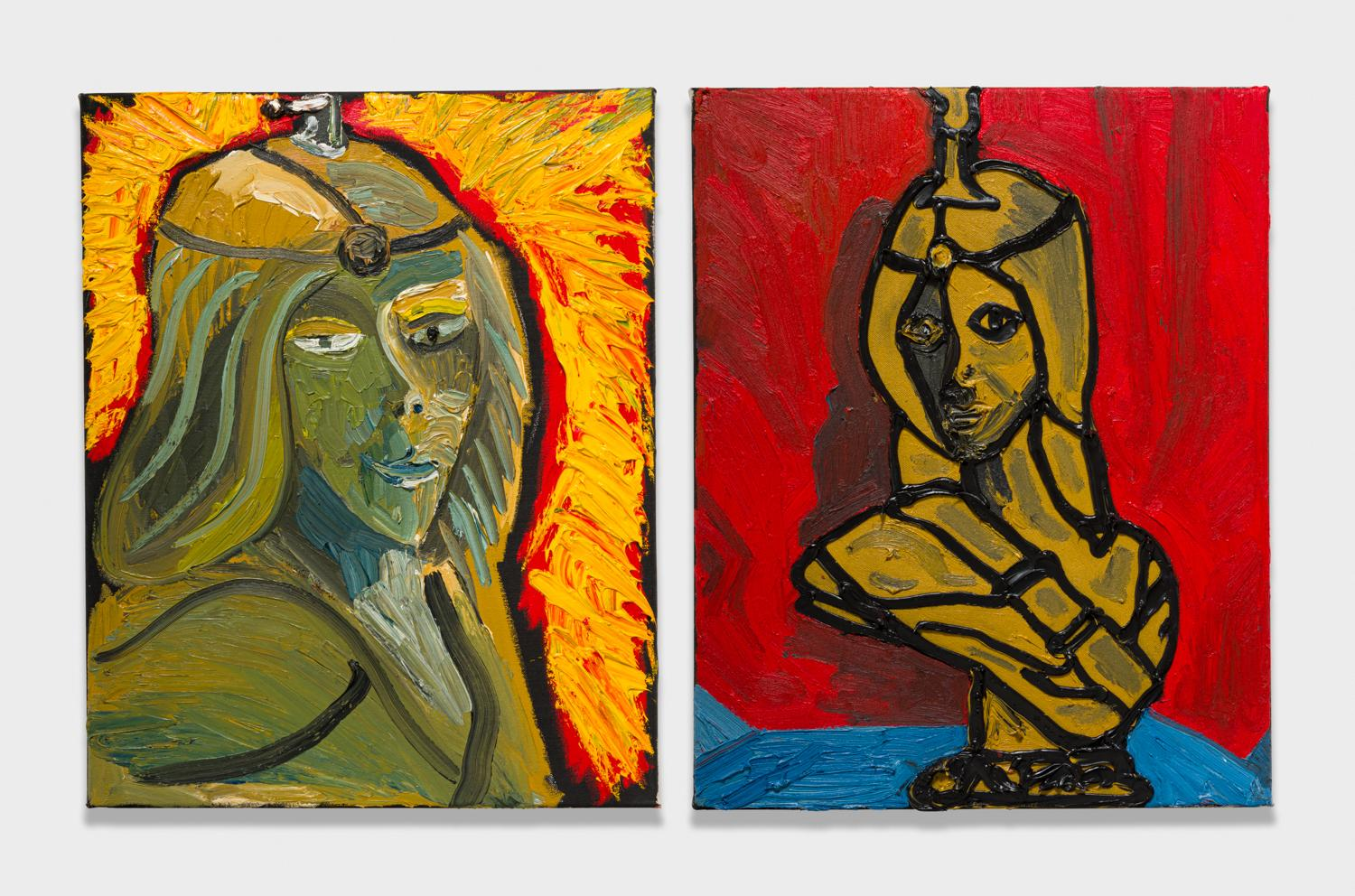 Alex Becerra and Matthew Clifford Green  Lady Lamp  2018 Oil on canvas Two elements, 20h x 16w in. each ABMCG010