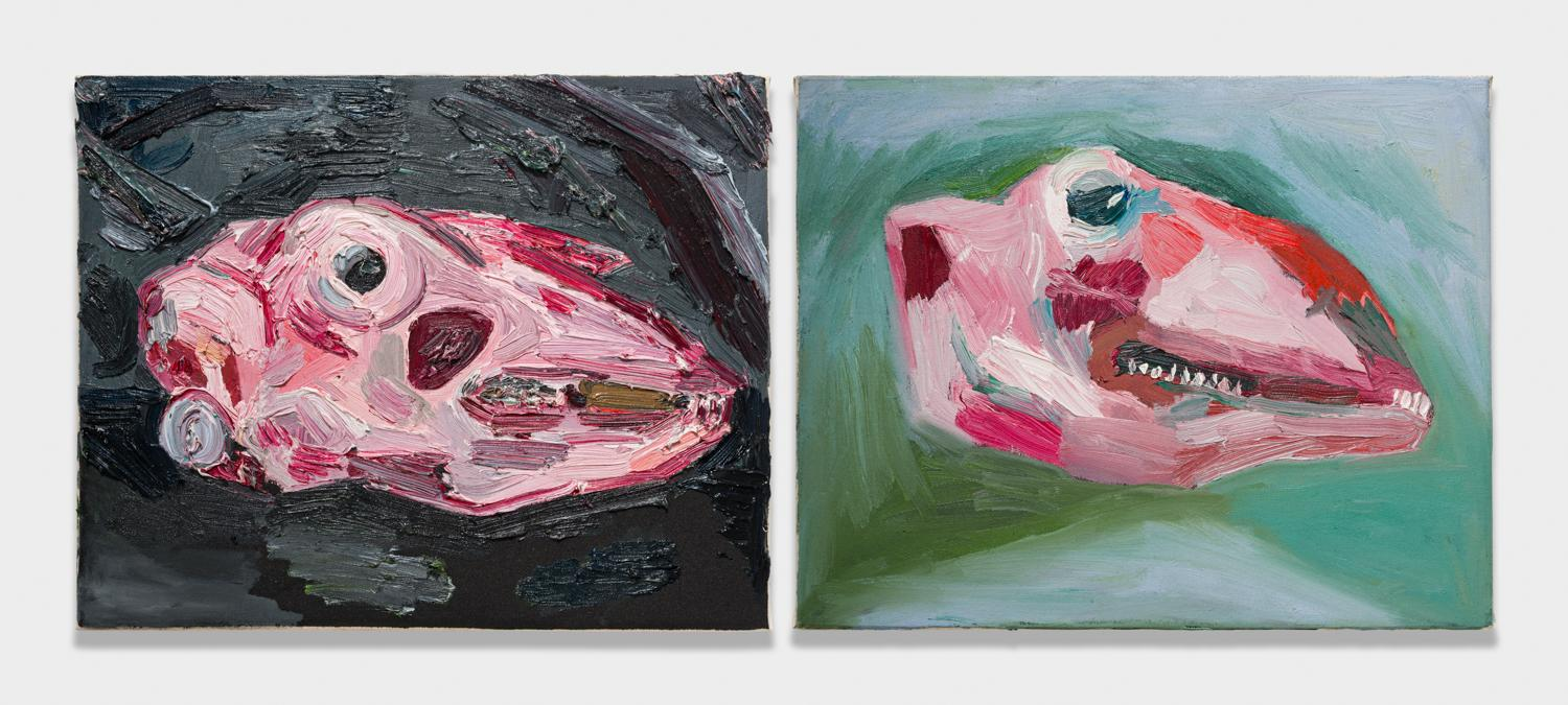 Alex Becerra and Matthew Clifford Green  Goats Head  2018 Oil on canvas Two elements, 16h x 20w in. each ABMCG011