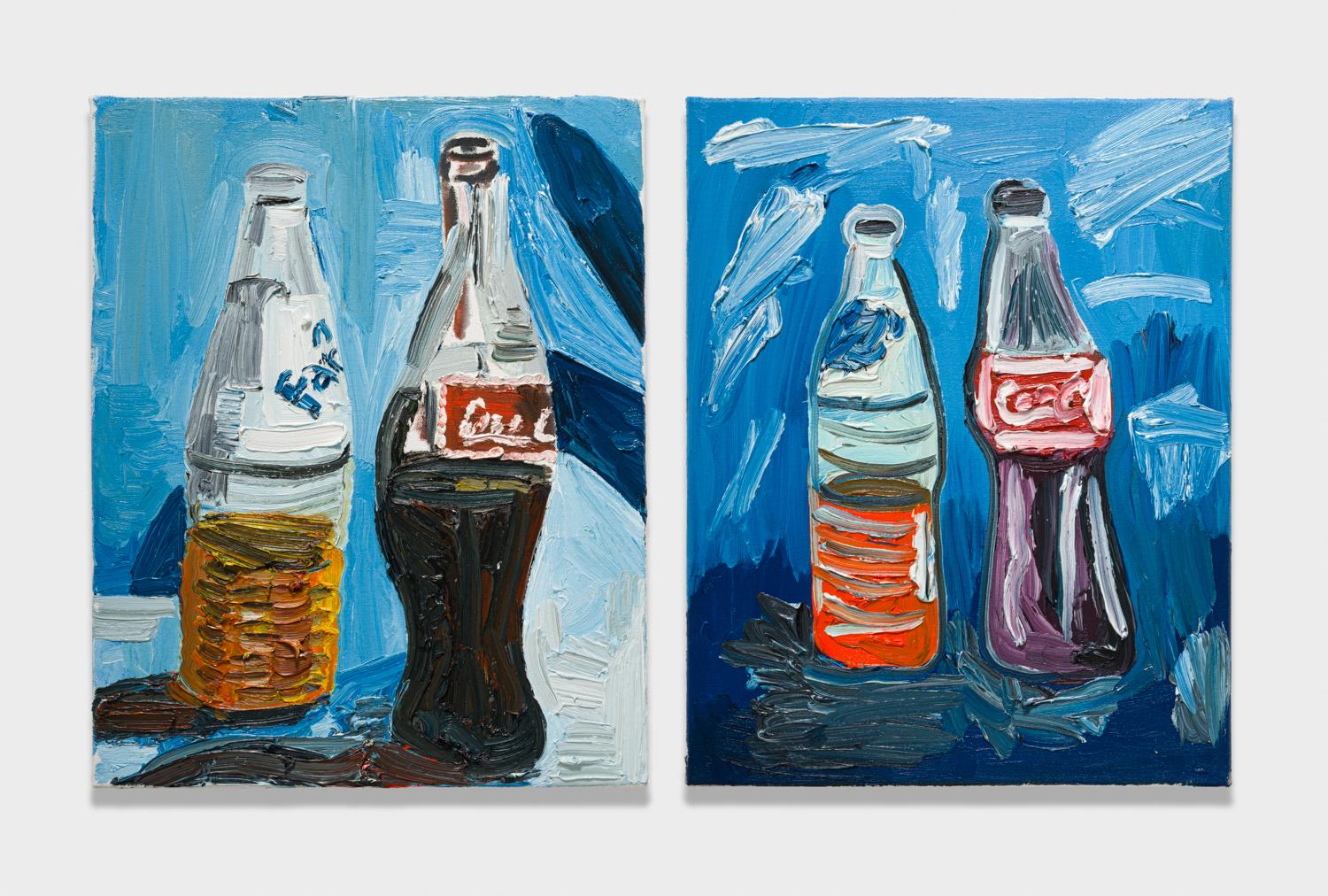 Alex Becerra and Matthew Clifford Green  Spezi  2018 Oil on canvas Two elements, 20h x 16w in. each ABMCG014