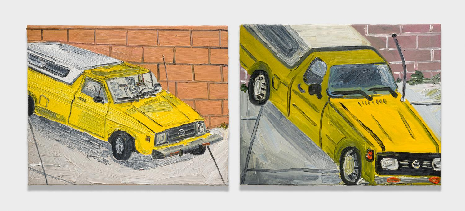 Alex Becerra and Matthew Clifford Green  Yellow Volkswagen  2018 Oil on canvas Two elements, 16h x 20w in. each ABMCG017