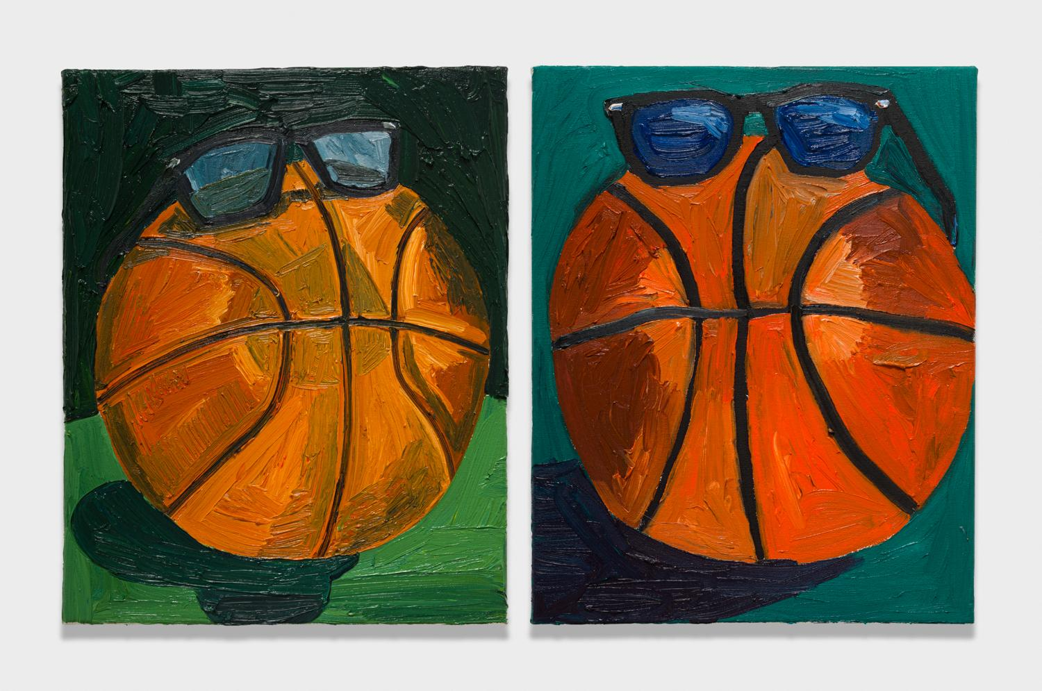 Alex Becerra and Matthew Clifford Green  Basketball Wearing Shades  2018 Oil on canvas Two elements, 20h x 16w in. each ABMCG019