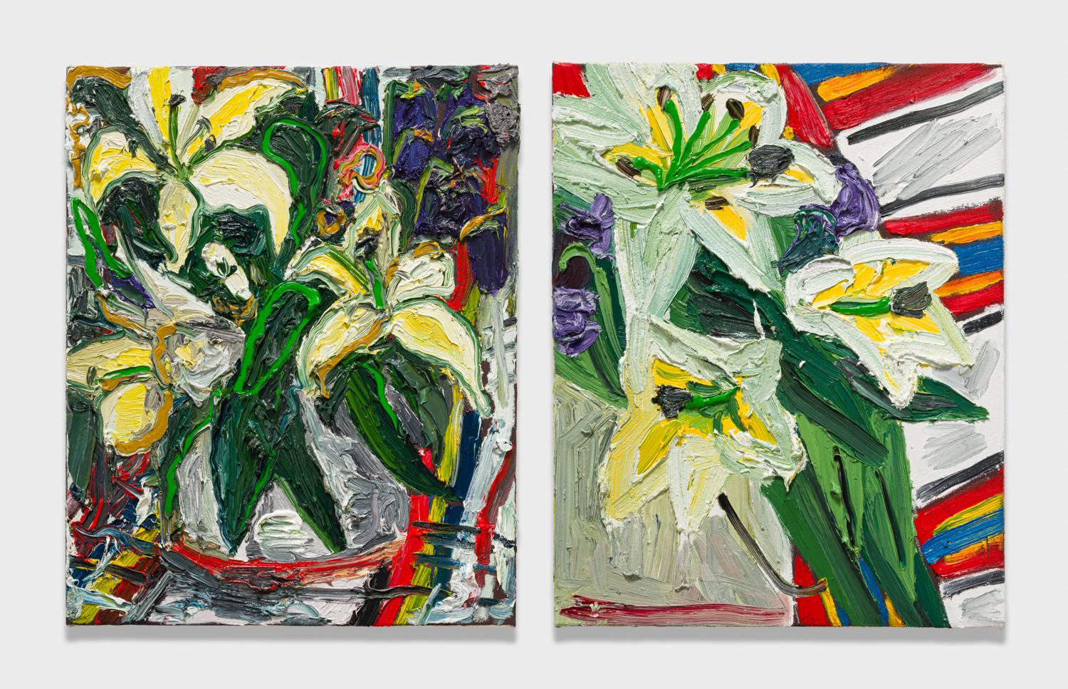 Alex Becerra and Matthew Clifford Green  Flowers and Mexican Blanket  2018 Oil on canvas Two elements, 20h x 16w in. each ABMCG020