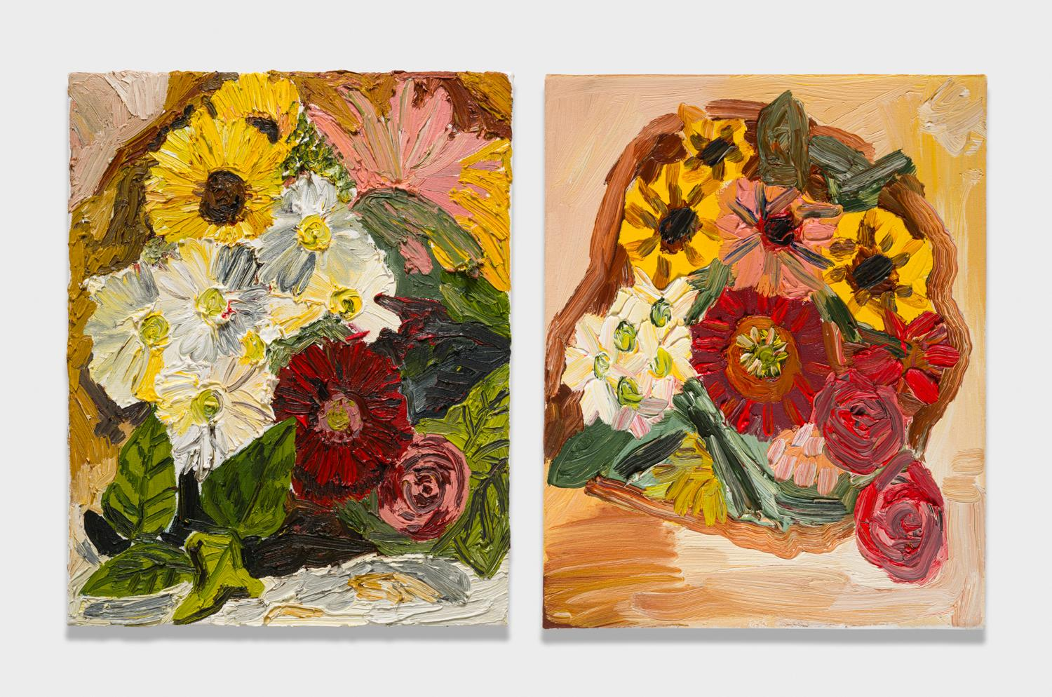 Alex Becerra and Matthew Clifford Green  Bouquet  2018 Oil on canvas Two elements, 20h x 16w in. each ABMCG021