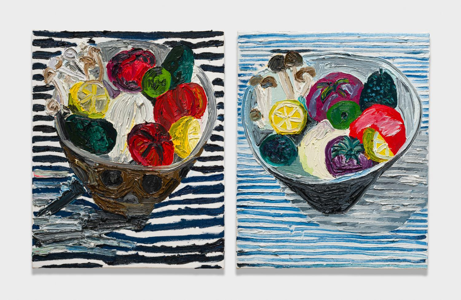 Alex Becerra and Matthew Clifford Green  Fruits and Vegetables in Bowl  2018 Oil on canvas Two elements, 20h x 16w in. each ABMCG022