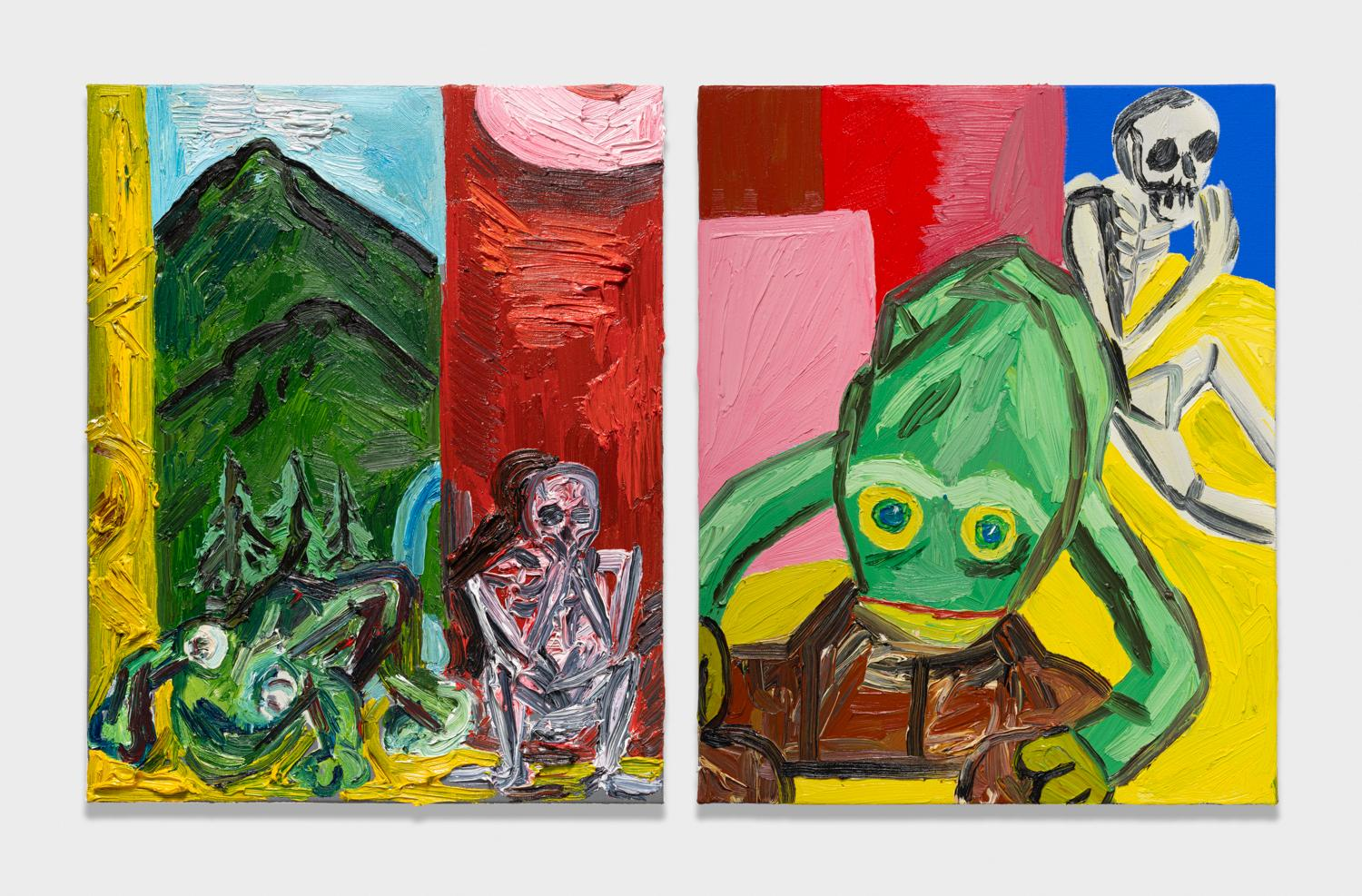 Alex Becerra and Matthew Clifford Green  Beanie Baby, Skeleton, and Sake  2018 Oil on canvas Two elements, 20h x 16w in. each ABMCG024