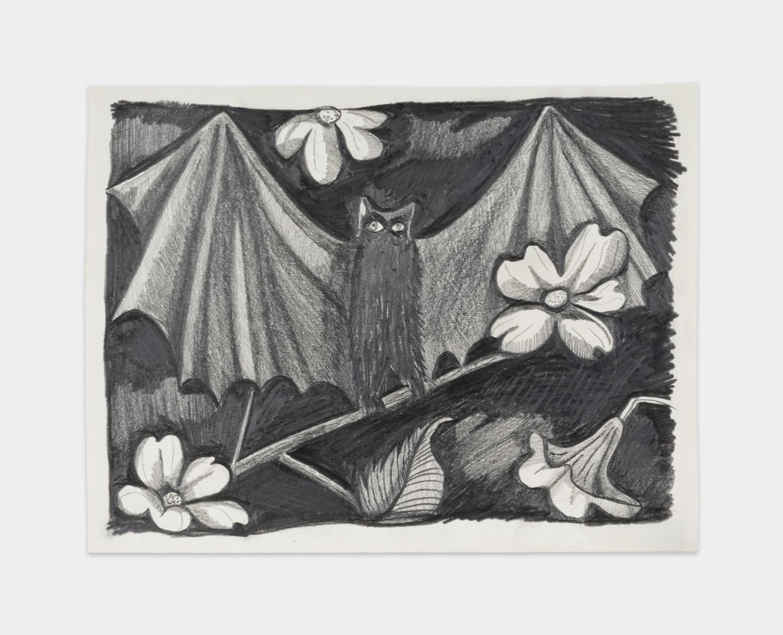 NikkiMaloof  Black Bat in a Dogwood Tree  2018 Graphite on paper 8 ½h x 11 ¾w in NM015