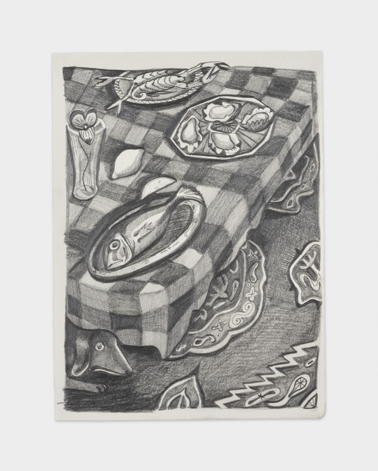 NikkiMaloof  Small Seafood Buffet  2018 Graphite on paper 11 ¾h x 8 ½w in NM027
