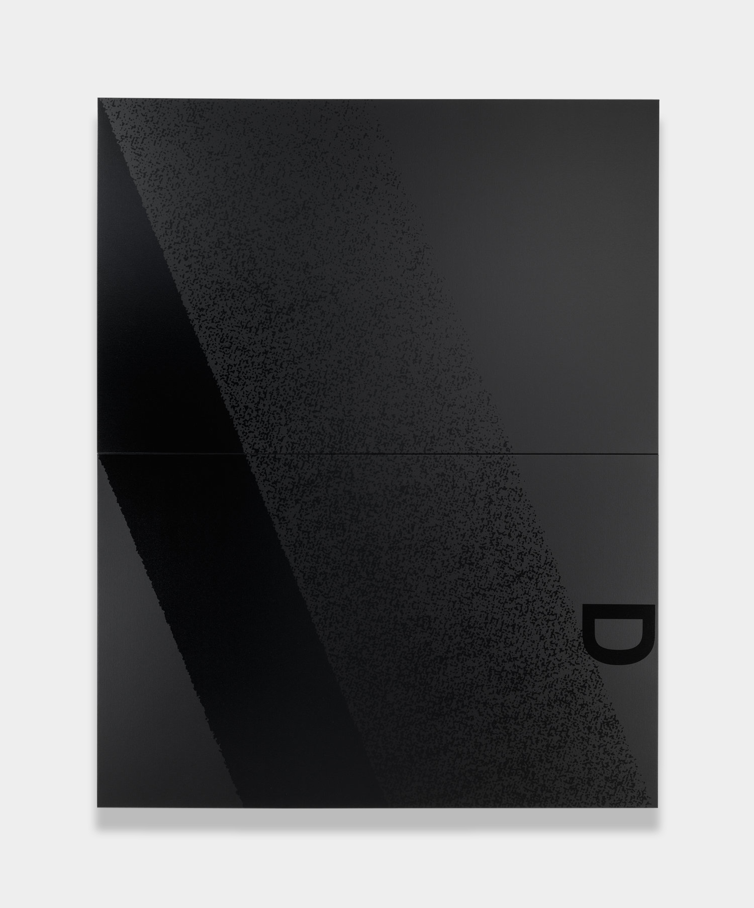 Adam Pendleton  Black Dada (D)  2012 Silkscreen ink on canvas Two panels; 96h x 76w x 1 1/2d in, overall