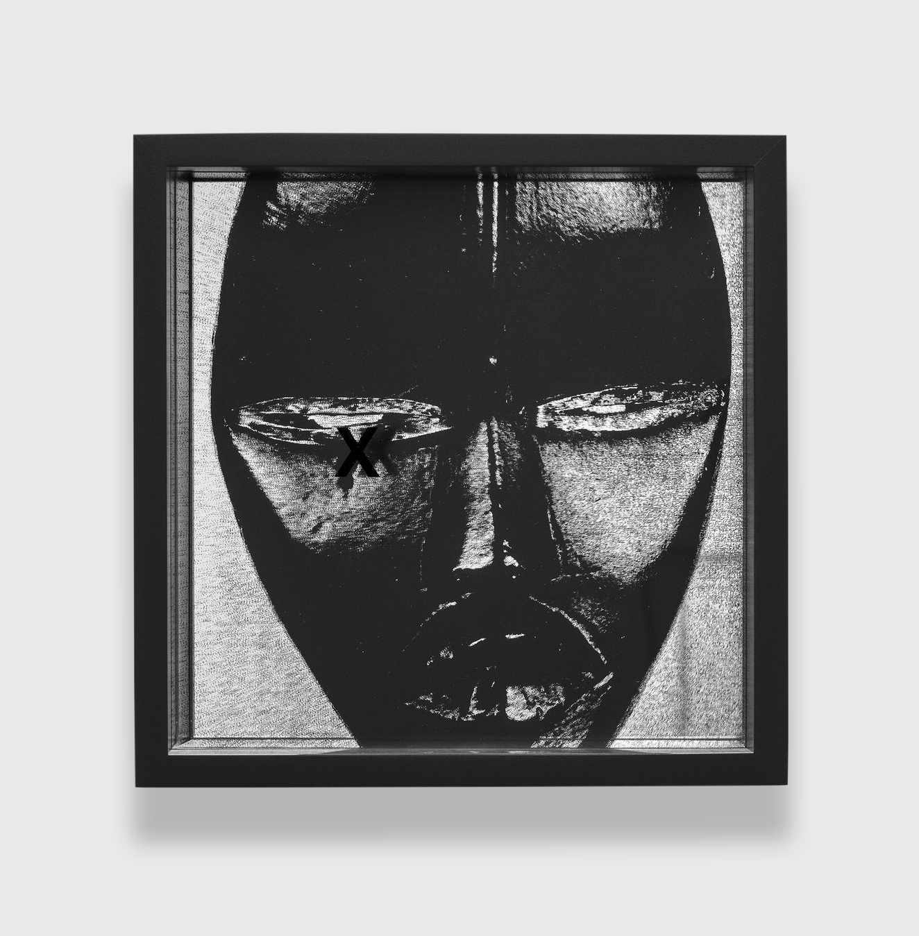 Adam Pendleton  System of Display, X (EXPRESS/Poro secret society mask, Mano, Liberia)  2016 Silkscreen ink on plexiglass and mirror 9 13/16h x 9 13/16w x 3 1/8d in