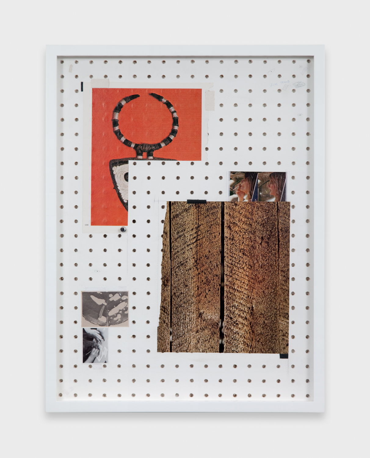 Amanda Ross-Ho  Untitled Still Life (Trees)  2011 Hand-drilled sheetrock, latex paint, graphite, ballpoint pen, found images, linen tape, book tape 24h x 18w in ARH003