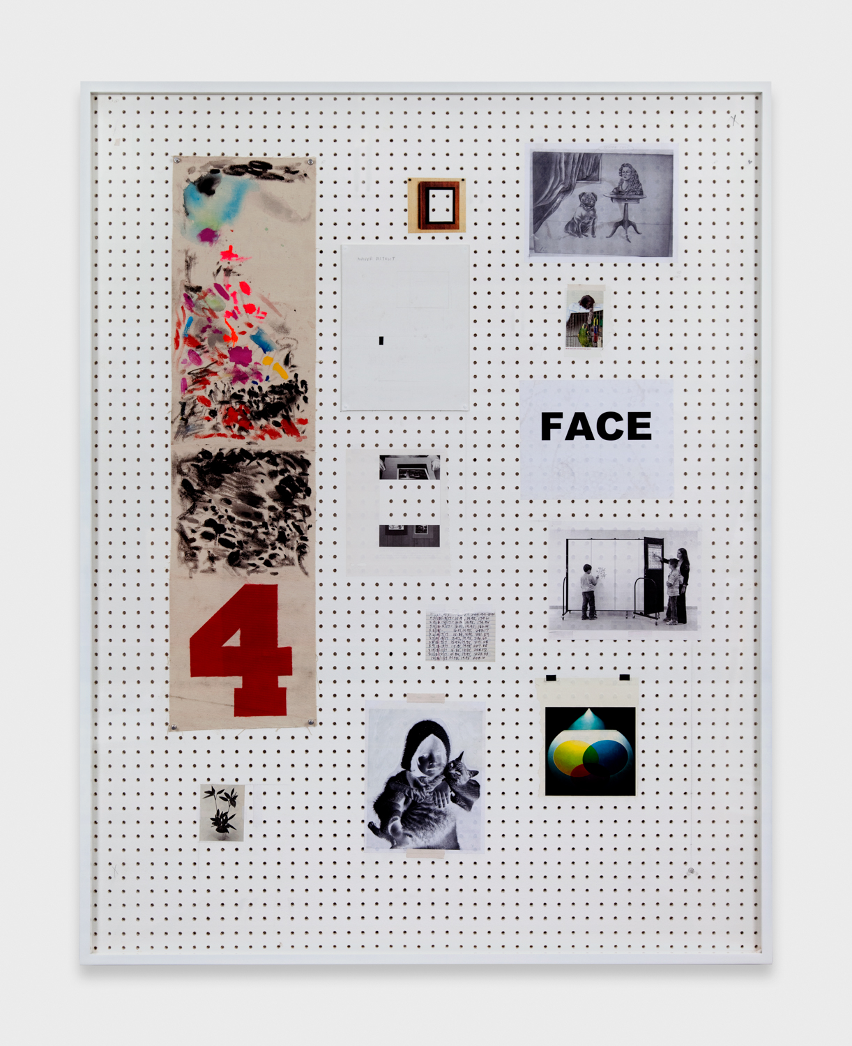 Amanda Ross-Ho  Untitled Still Life (FACE/MAUVE DISTRICT)  2011 Hand-drilled sheetrock, latex paint, graphite, linen tape, apron #1 palette (acrylic on canvas), aluminum thumbtacks, iron-on test for Leo's 40th, found images 62h x 48w in ARH009