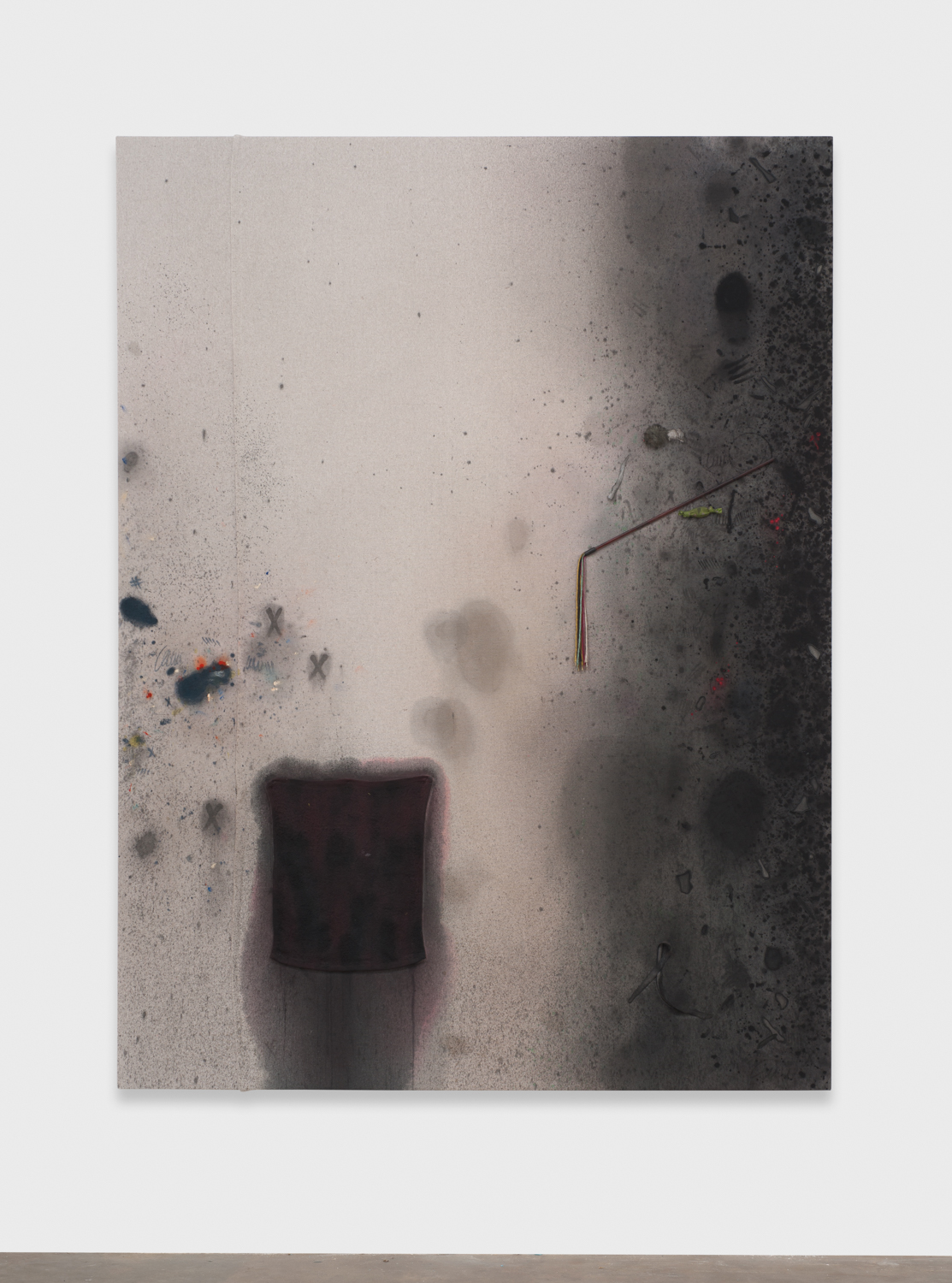 Amanda Ross-Ho  Untitled Dropcloth Painting, (BLACK RAG AND TASSEL)  2014 Canvas dropcloth, acrylic paint, latex paint, graphite, fabric dye, black rag, tassel cat toy, grey fur mouse (feather tail), green catnip candy, White Goddess negatives 84h x 63w in ARH093