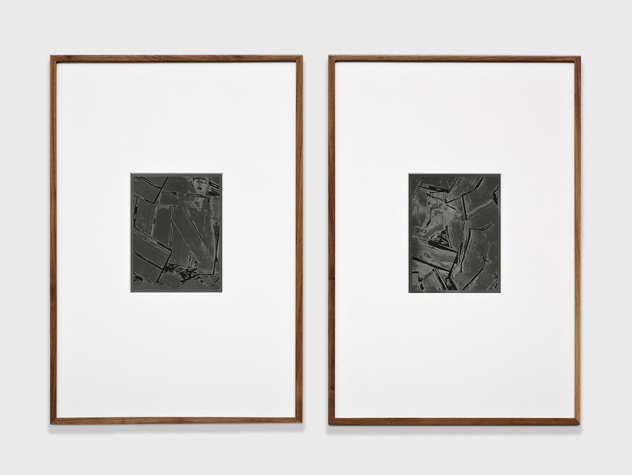 Anthony Pearson  Untitled (Solarization Diptych)  2011 Solarized silver gelatin photographs in artist's frames 17 ½h x 28w in