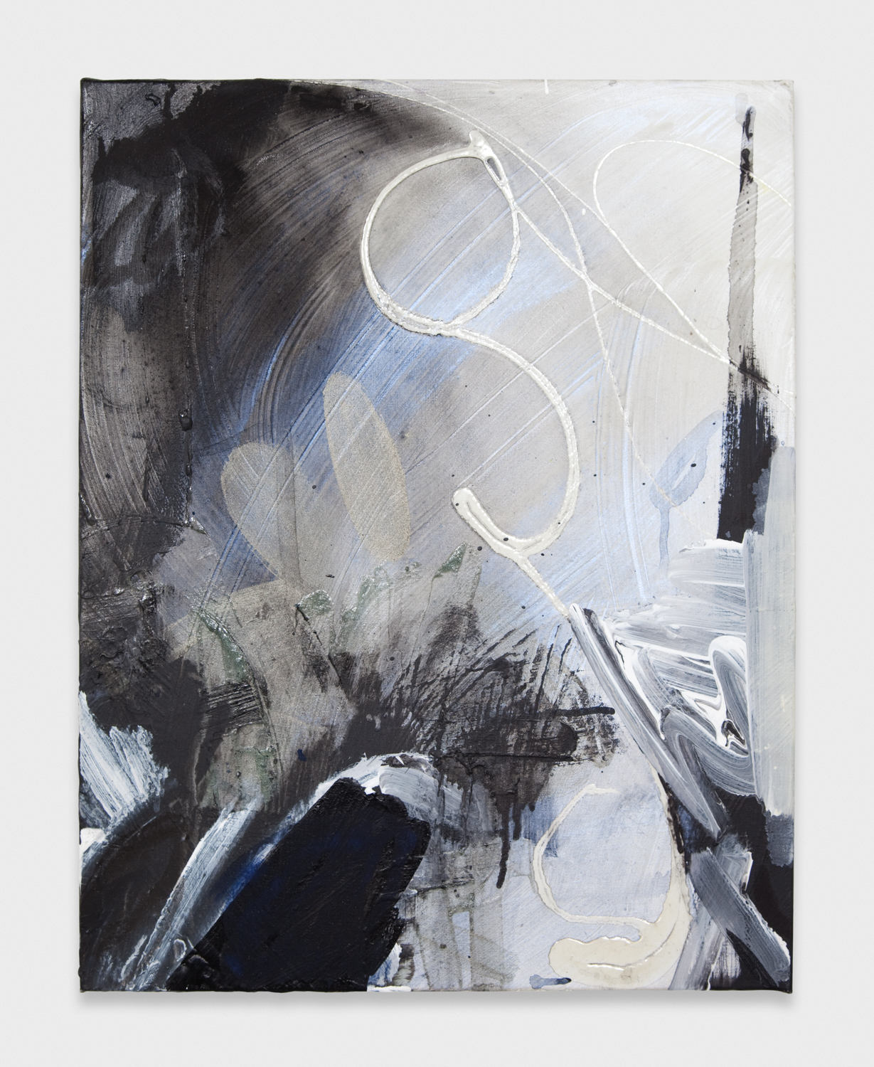 Suzanne McClelland  Black Sigh (#3)  2002-2012 Polymer and oil on canvas 20h x 16w in SM156