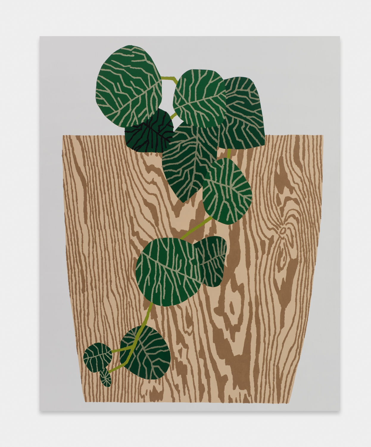 Jonas Wood  Wood Grain Pot with Hanging Plant  2015 Oil and acrylic on linen 40h x 32w in JW210