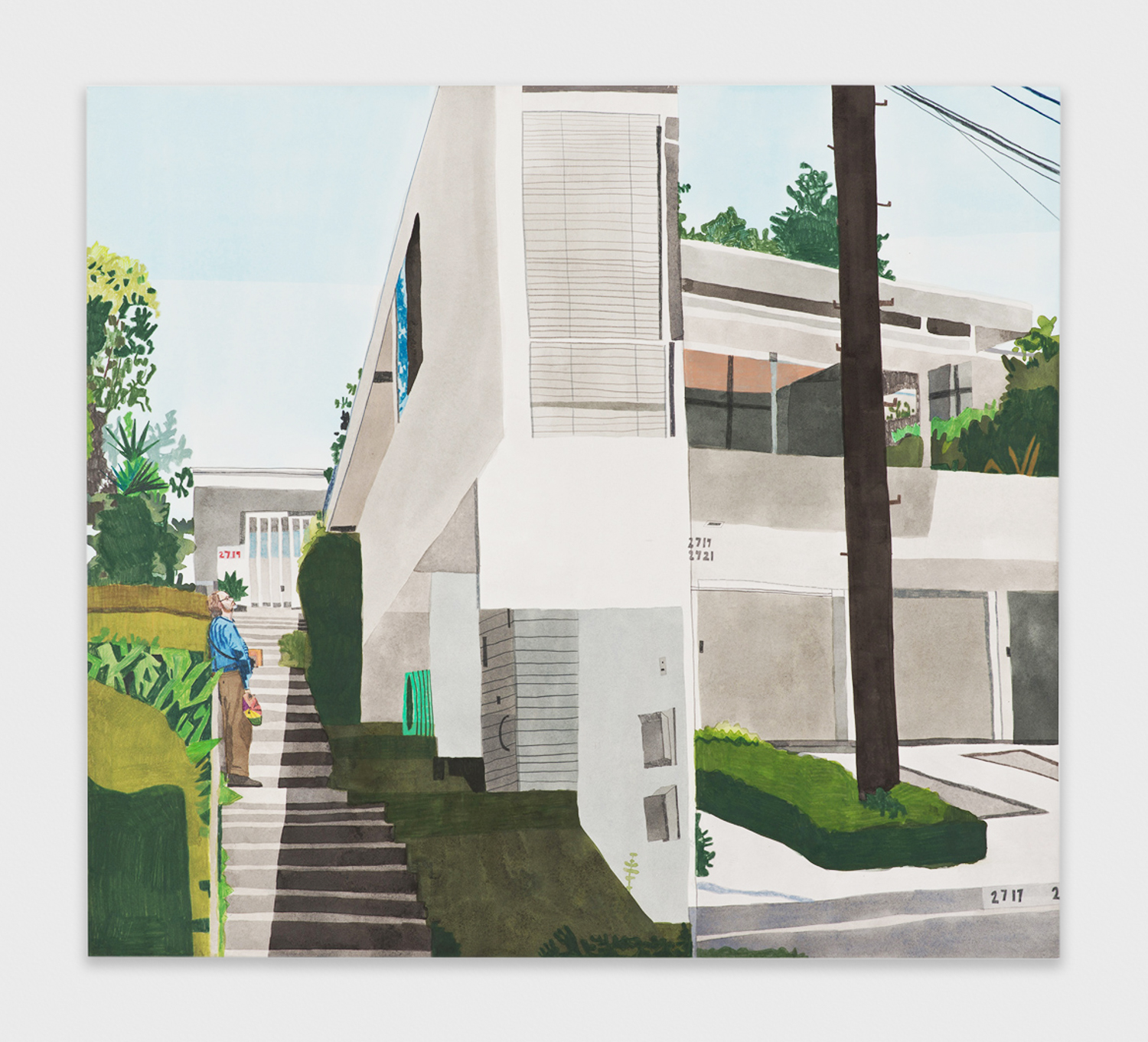 Jonas Wood  Jeremy in Silverlake  2011 Gouache and colored pencil on paper 36h x 40w in  JW156