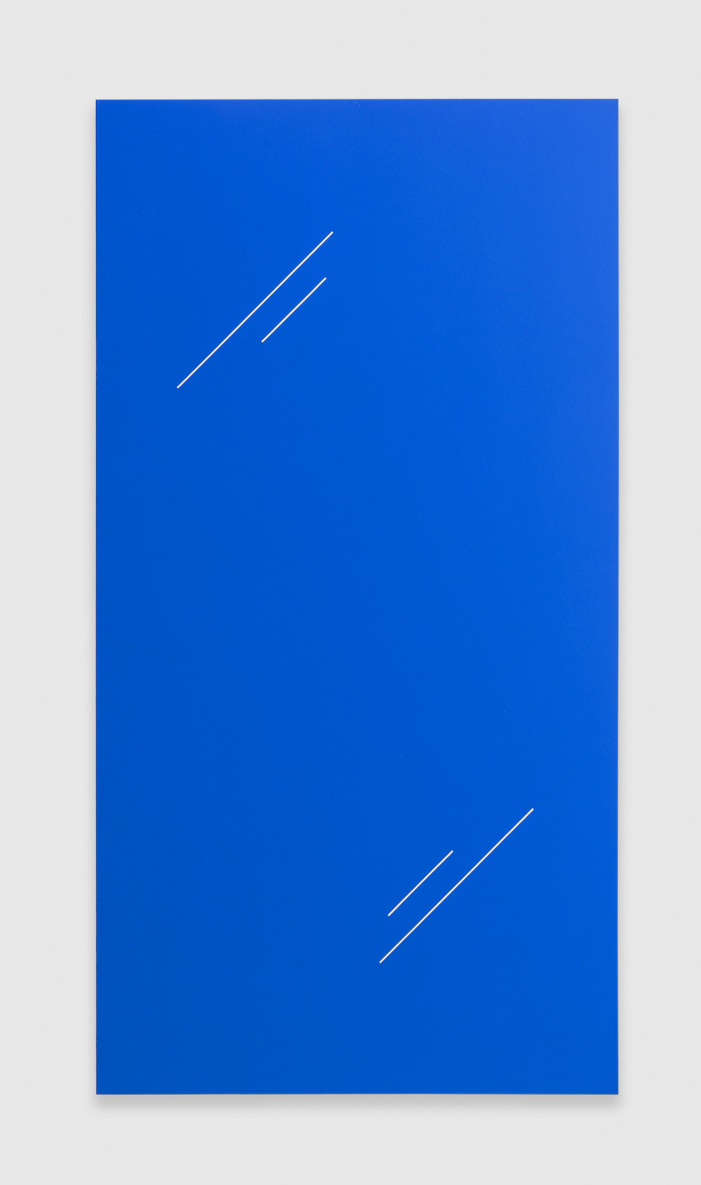 Paul Cowan  BCEAUSE THE SKY IS BULE  2013 Chroma-key blue paint on canvas 72h x 41w in PC078