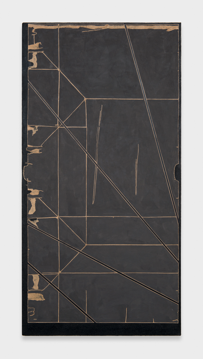 Zak Prekop  Collage with Paper Bag (Scroll)  2012 Oil and paper bag on canvas 37h x 19w in ZP255