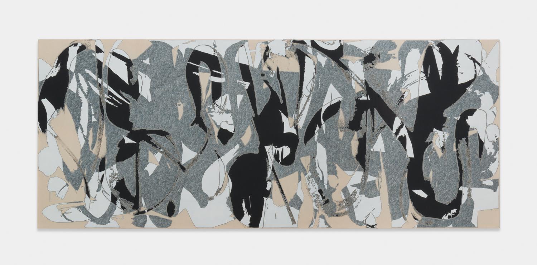 Zak Prekop  Unmeasured Pattern (Black and White)  2016 Oil on muslin 40h x 96w in ZP344