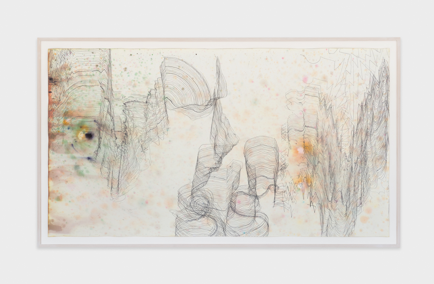 Jay Heikes  Music for Minor Planets (Nureyev)  2015 Pencil and dye on paper 44h x 80w in JH044