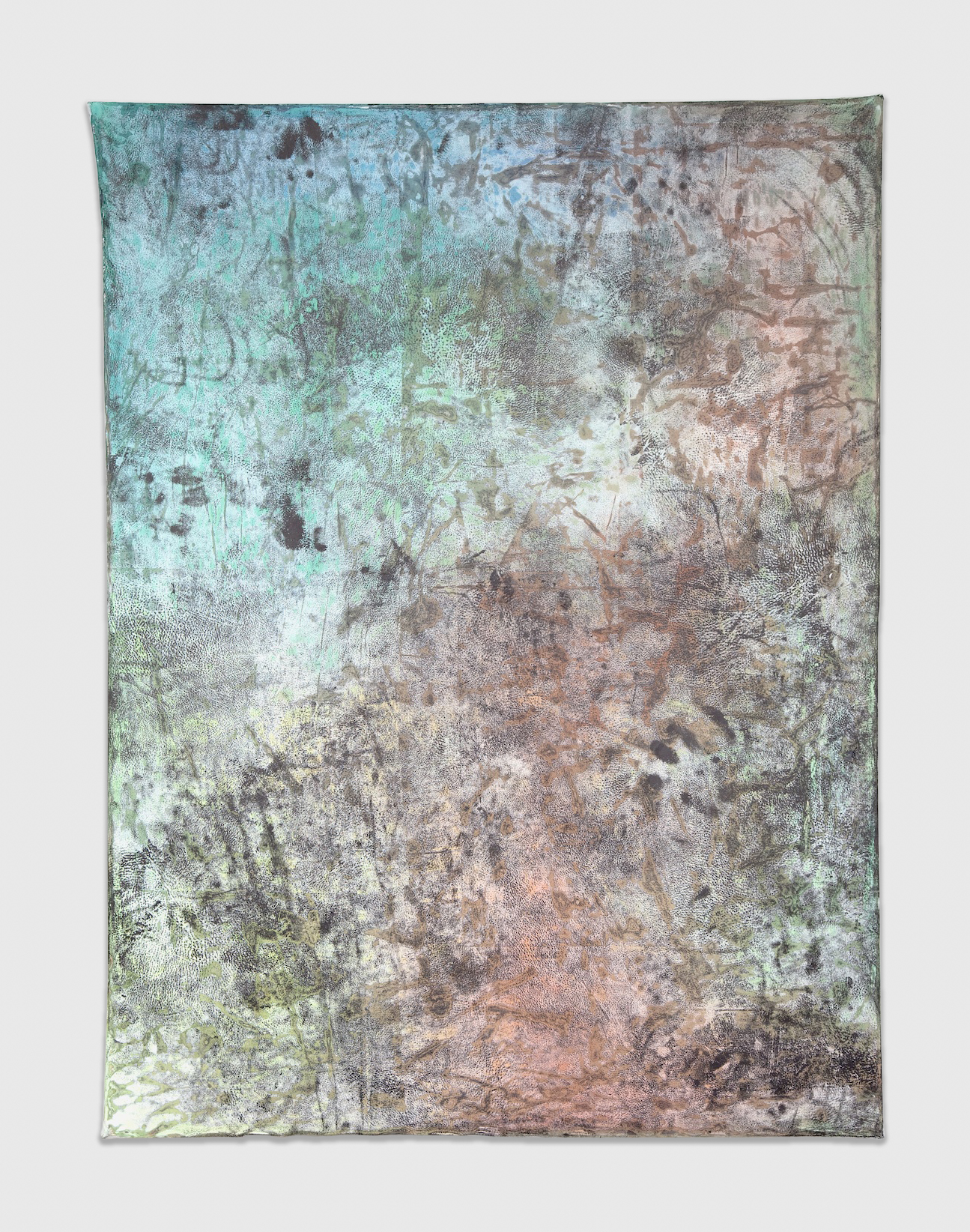 Jay Heikes  Subterranean Isle  2011 Paper, aluminum, dry pigment, ink, and wood 48 ¼h x 36 ¼w in JH034
