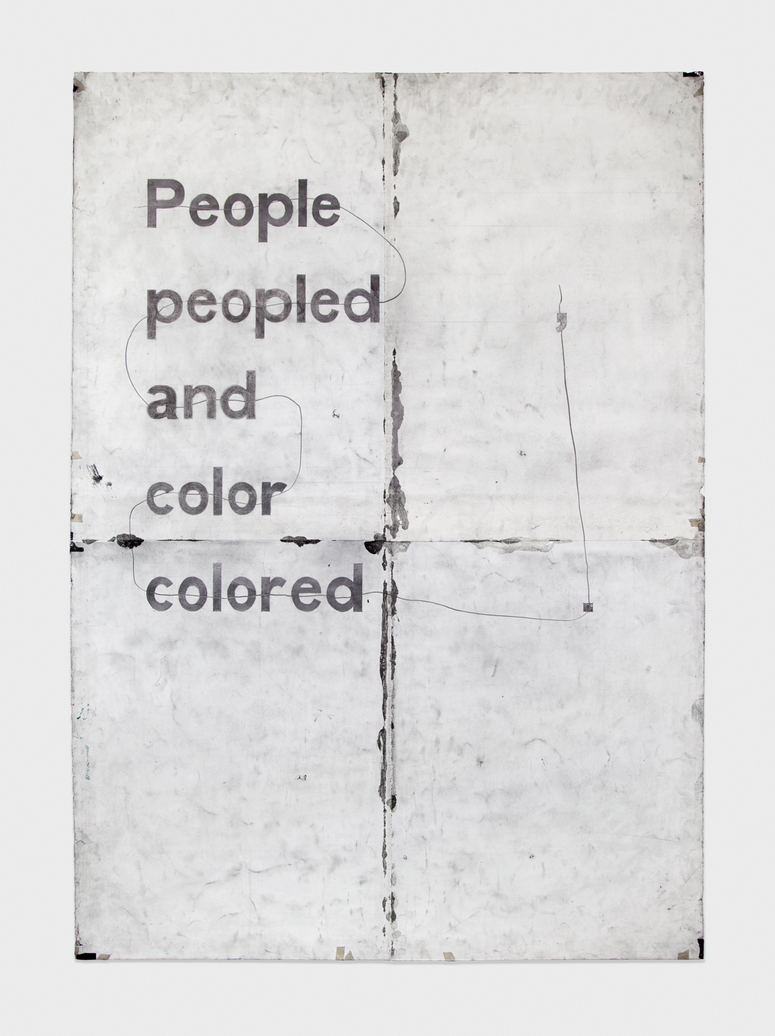 Tony Lewis  ,.deroloc color dna peopled elpoeP  2011 Pencil and graphite powder on paper 84h x 60w in TL011