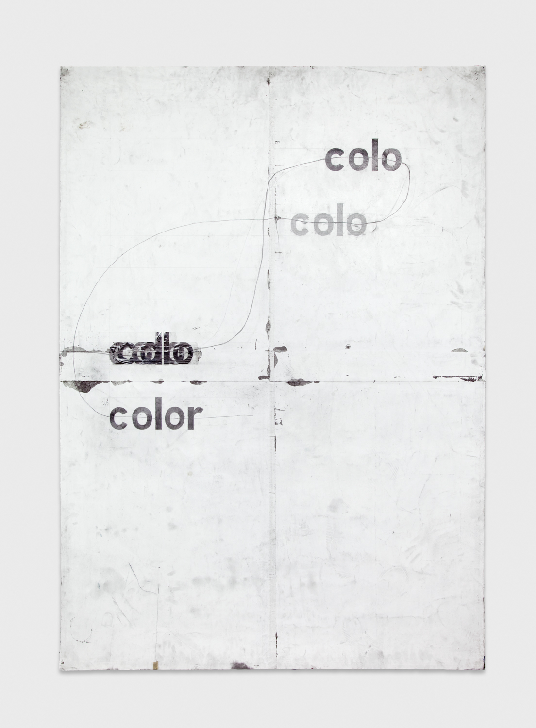 Tony Lewis  roloc colo oloc oloc or colo colo oloc color   2011 Pencil, graphite powder, and tape on paper 84h x 60w in TL001