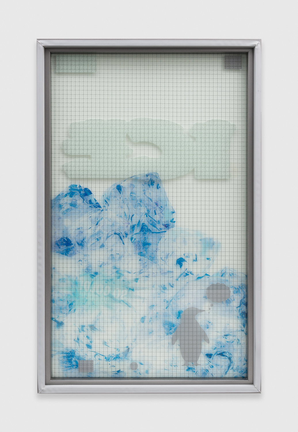 Chris Bradley  Freezer Door (Penguin)  2014 Wire glass, printed clear film, wood, rubber gasket 44h x 27w x 2d in CB101